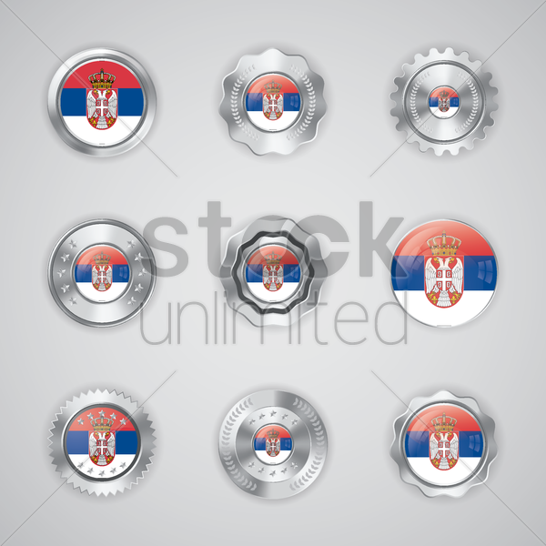set of serbia flag buttons vector graphic