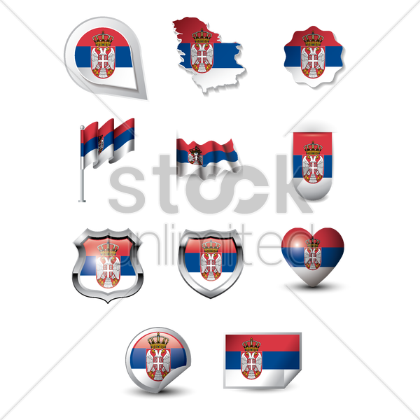 set of serbia flag icons vector graphic