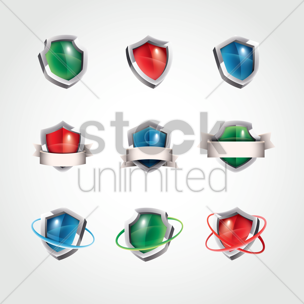 set of shields vector graphic