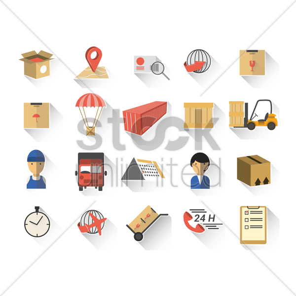 set of shipment icons vector graphic