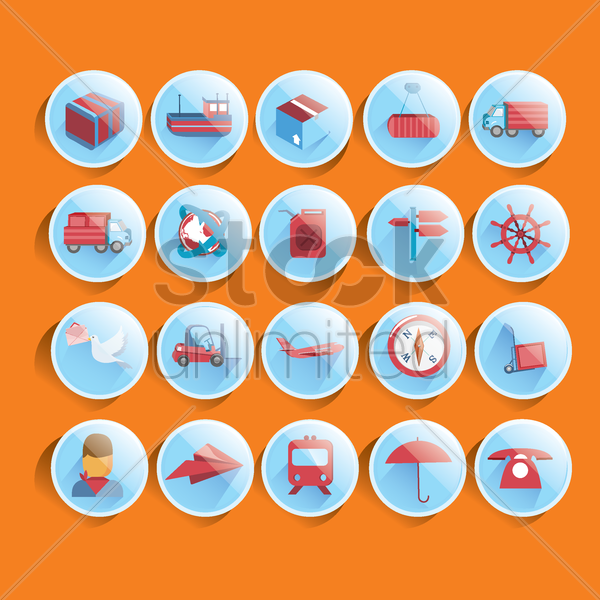 set of shipment related icons vector graphic