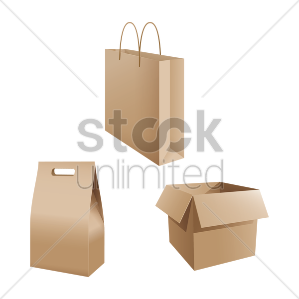 Free set of shopping bags and carton box vector graphic