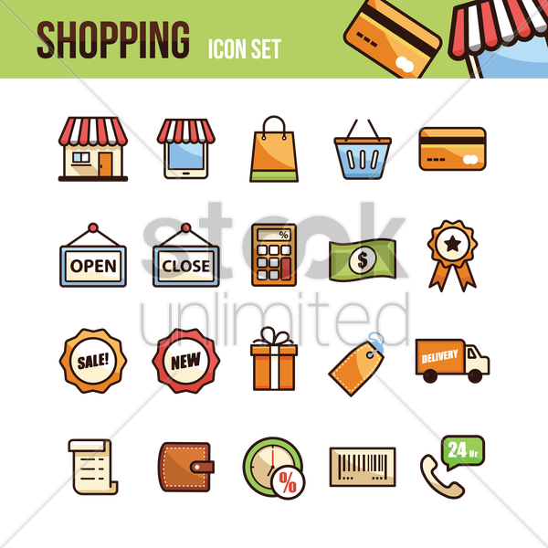 set of shopping icons vector graphic