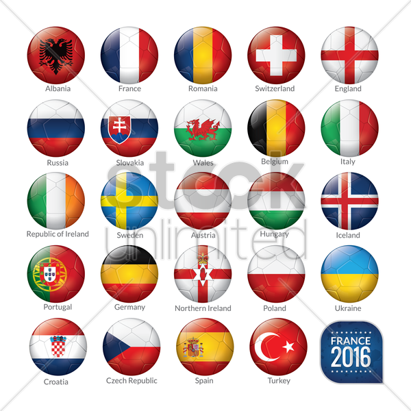 set of soccer balls with flags vector graphic