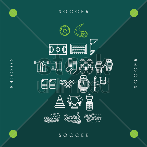 set of soccer icons vector graphic