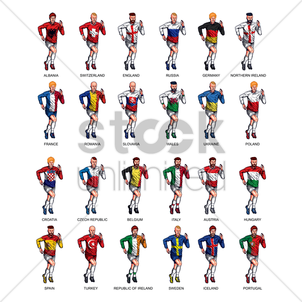 set of soccer players vector graphic