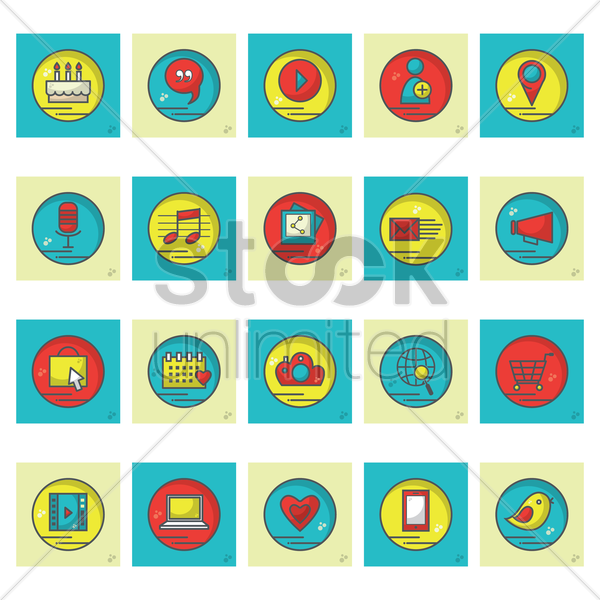 set of social icons vector graphic