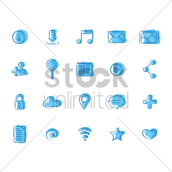 set of social media icon vector graphic