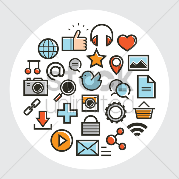 set of social media icons vector graphic