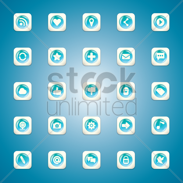 Free set of social media icons vector graphic