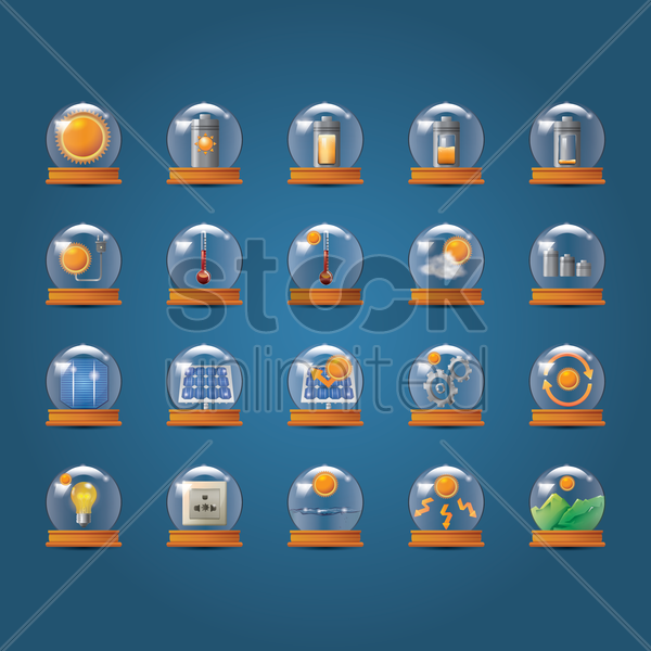 set of solar technology icons vector graphic