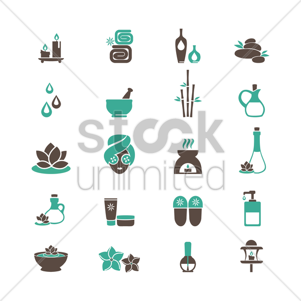 set of spa icons vector graphic