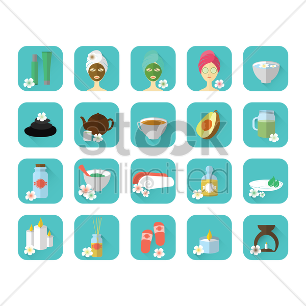 set of spa items vector graphic
