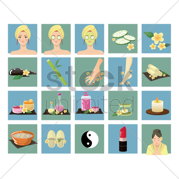 set of spa vector graphic