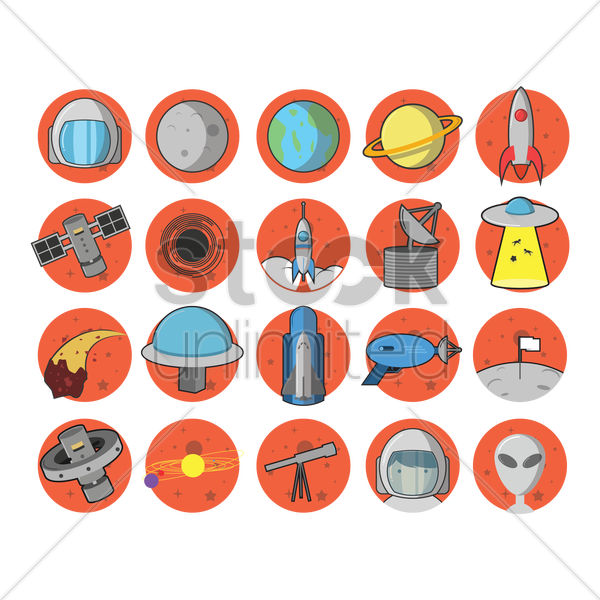 set of space equipment vector graphic