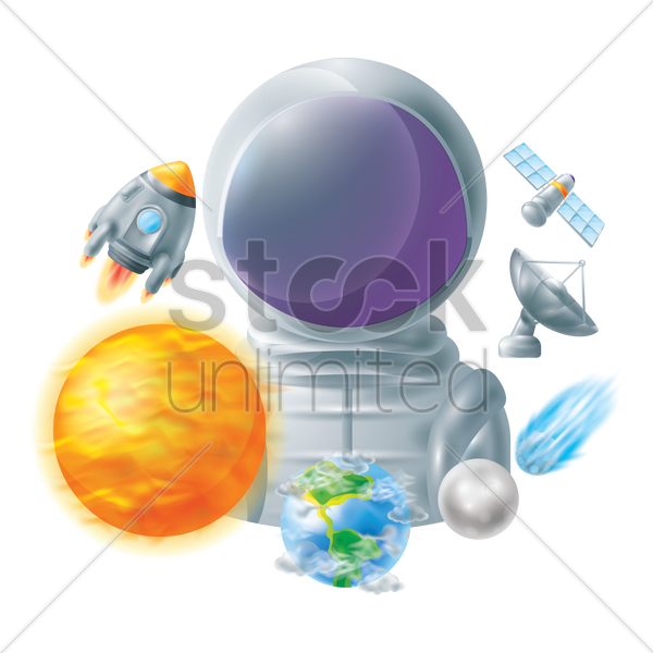 set of space icons vector graphic