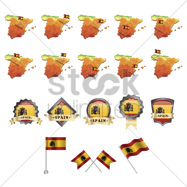 set of spain flag and map icons vector graphic