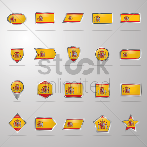 set of spain flag buttons vector graphic