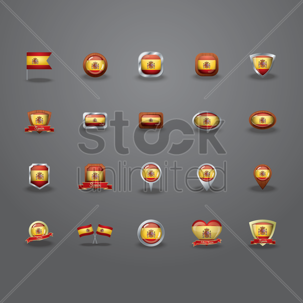 set of spain flag icons vector graphic