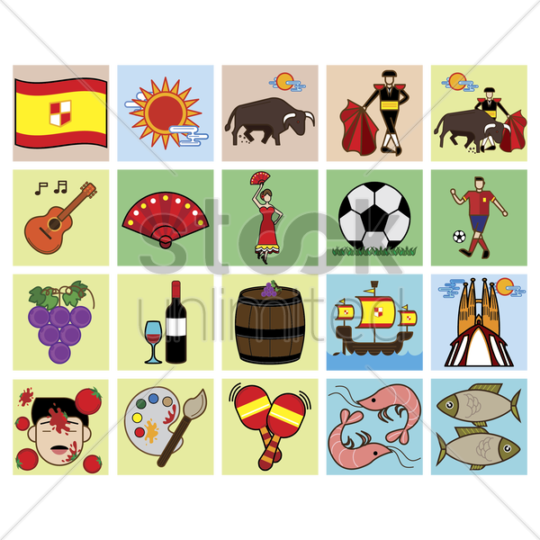 set of spain general icons vector graphic