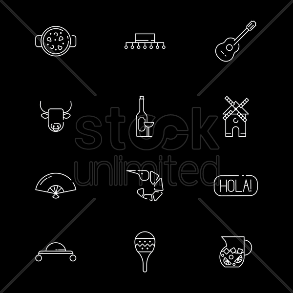 set of spain icons vector graphic