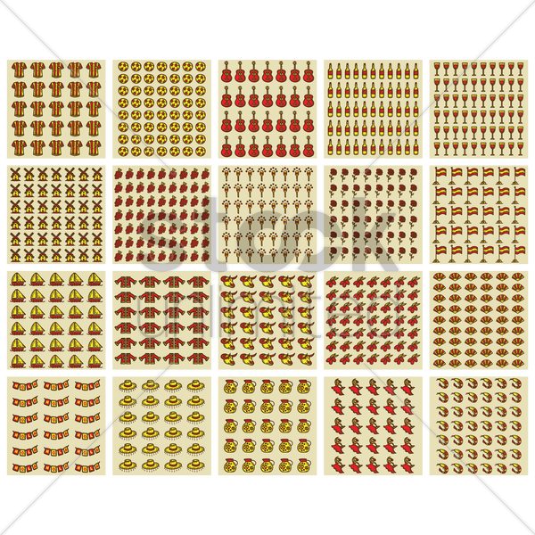 set of spain pattern backgrounds vector graphic