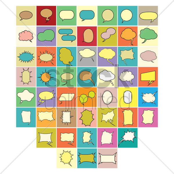 set of speech and thought bubble icons vector graphic