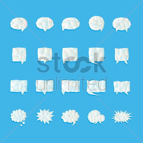 set of speech and thought bubbles icon vector graphic