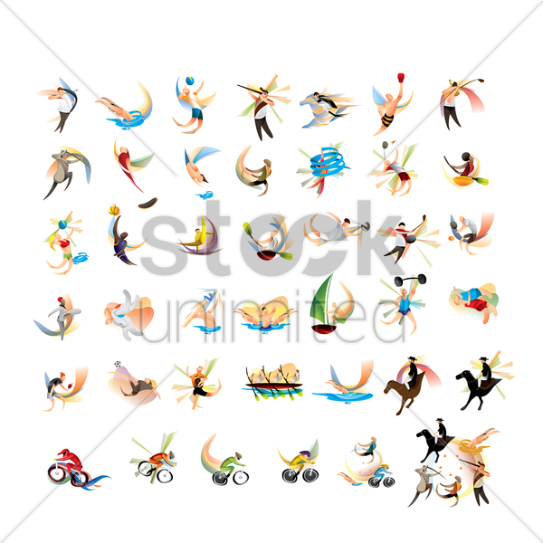 set of sport competition icons vector graphic