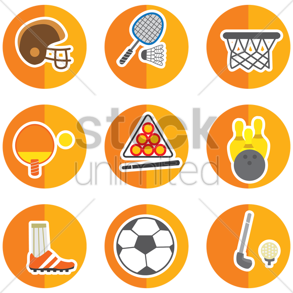 set of sport icons vector graphic