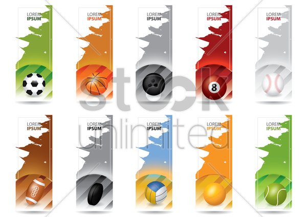 set of sports banners vector graphic