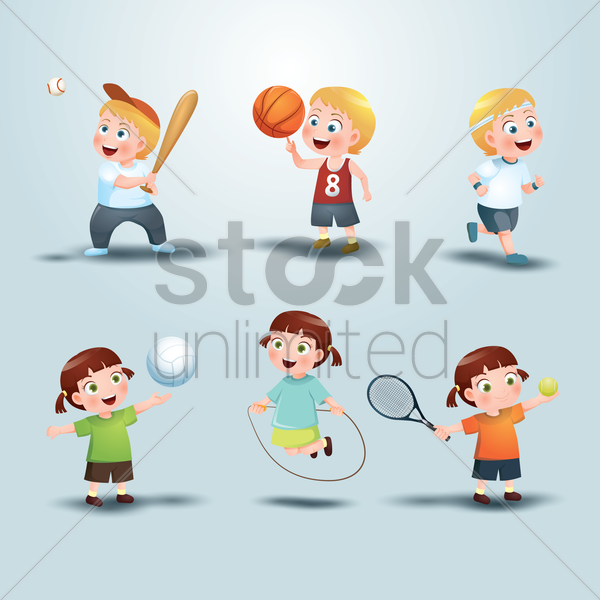 set of sports icon vector graphic