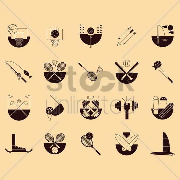 set of sports icons vector graphic
