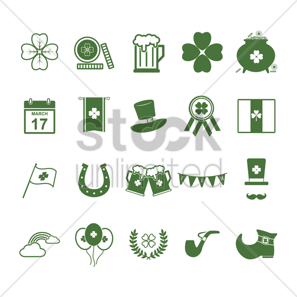 set of st.patrick's day icons vector graphic