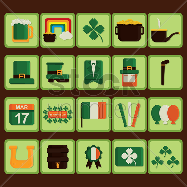 set of st patrick's day icons vector graphic