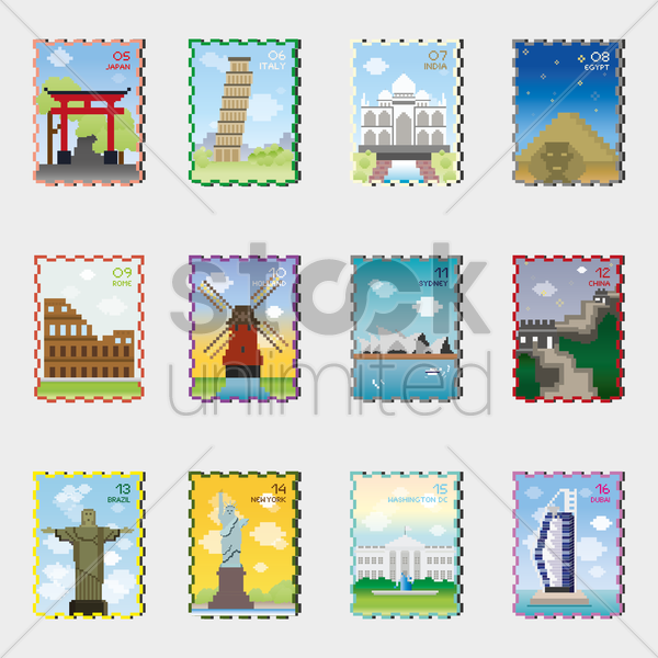set of stamp icons vector graphic