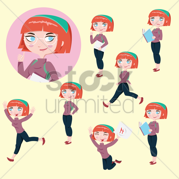 set of student icons vector graphic