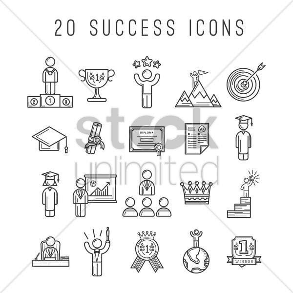 set of success icons vector graphic