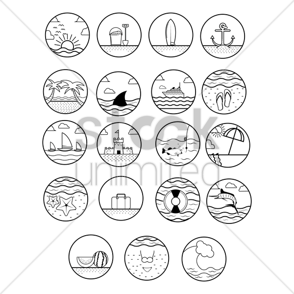 set of summer beach icons vector graphic