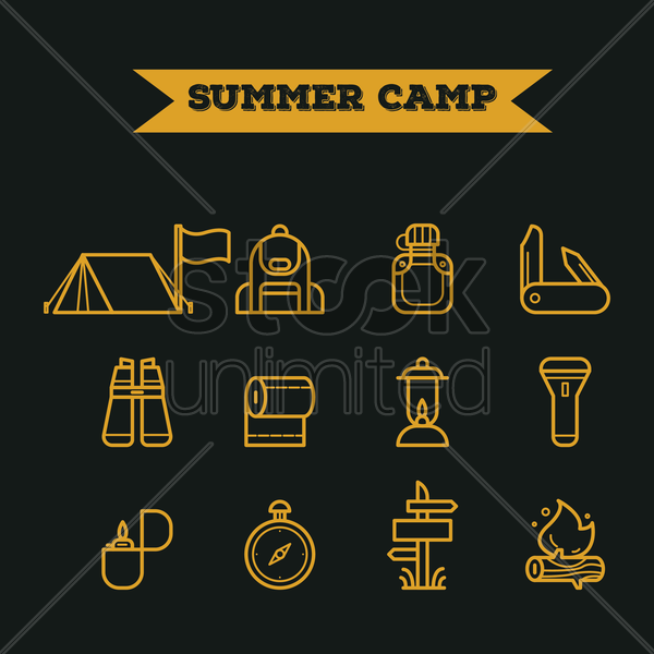 set of summer camp icons vector graphic