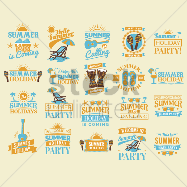 set of summer holiday design vector graphic