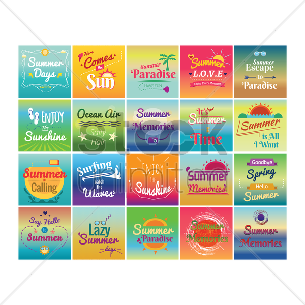 set of summer holiday designs vector graphic
