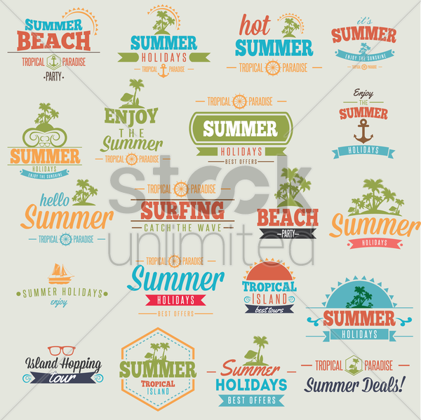 set of summer holiday wallpaper vector graphic