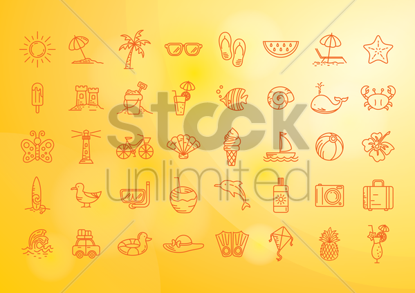 Free set of summer icons vector graphic
