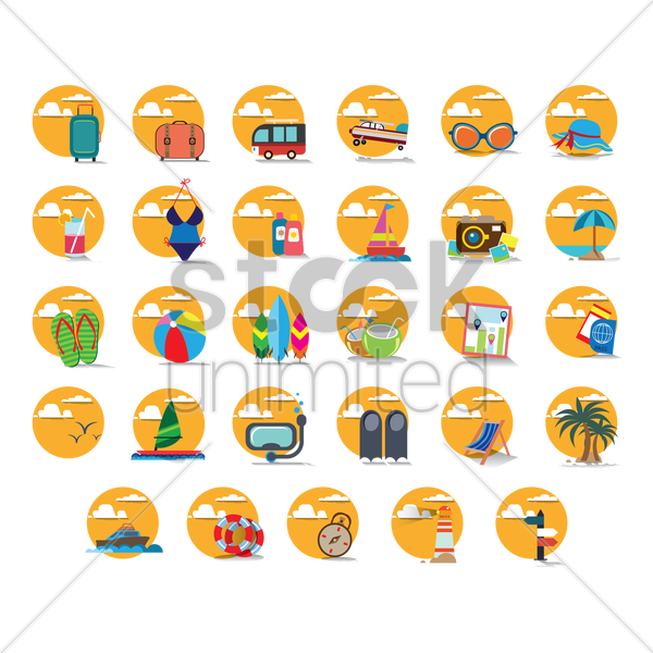 set of summer icons vector graphic