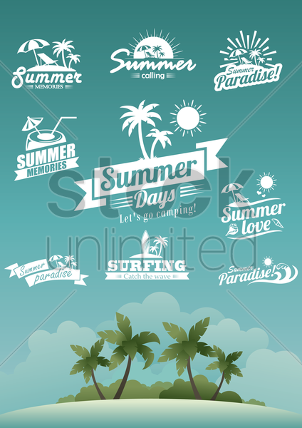 set of summer labels vector graphic