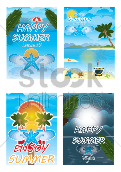 set of summer posters vector graphic