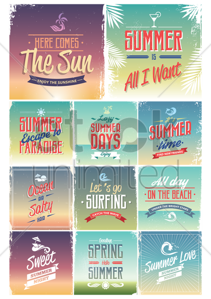set of summer wallpapers vector graphic