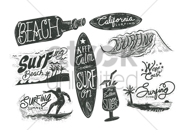 set of surfing beach typographies vector graphic