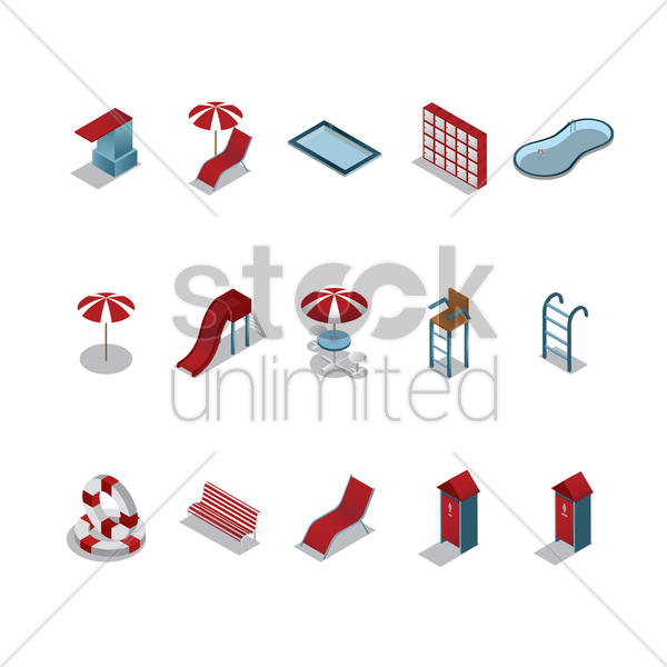 set of swimming pool icons vector graphic